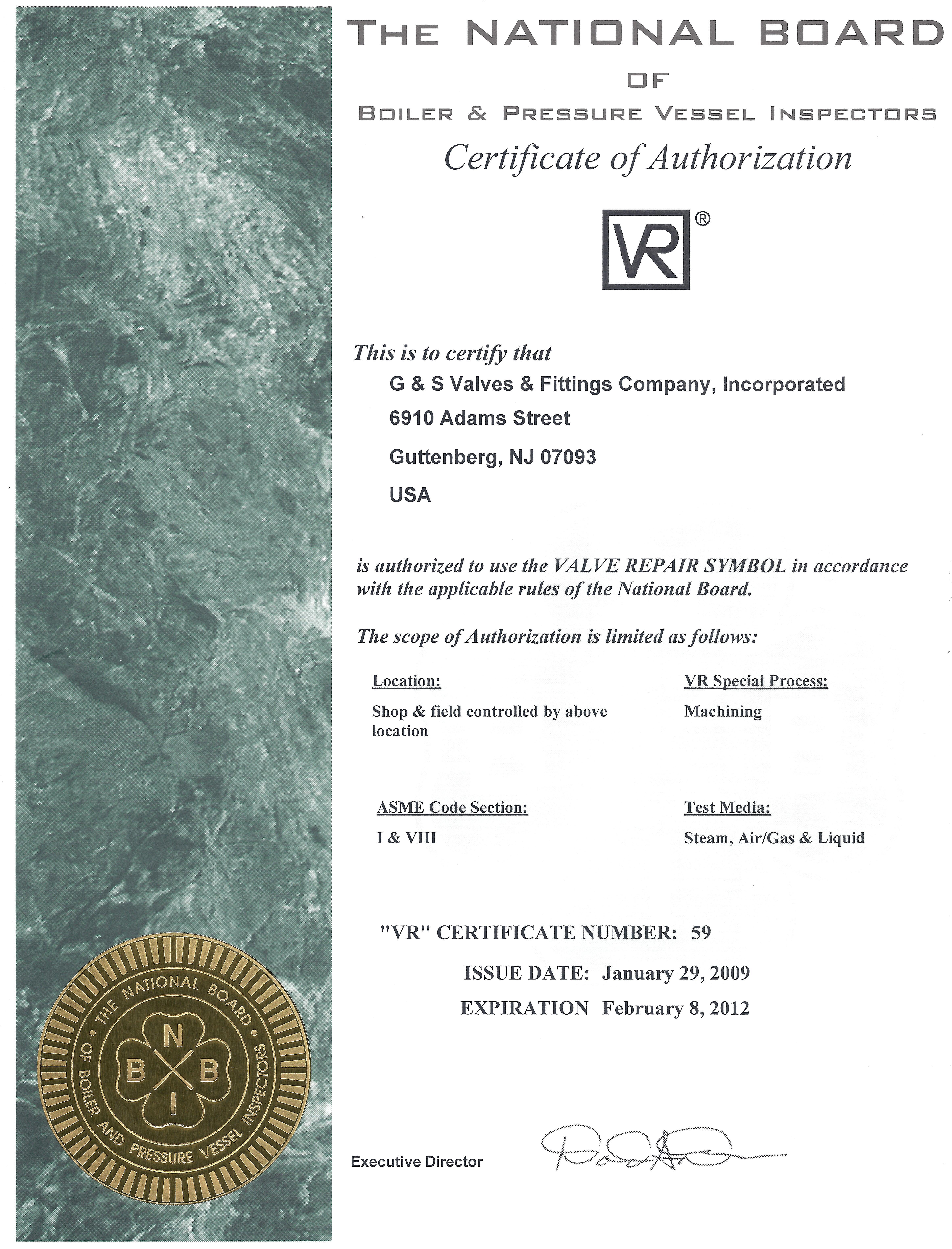 Certification - G&S Valves & Fittings Co., Inc.